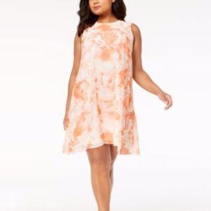 Calvin Klein Orange Printed Sleeveless Party Dress